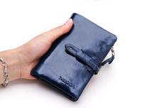 5Colors-Stars Elegant Fashion Waxed Genuine Cow Leather Women's Short Hasp Wallet Bi-fold Female Travel Wallet,free shipping