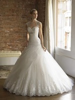 Sexy White Sweetheart transparent Strap Open Back  Beading Tulle & Lace Ball Chapep Train Wedding Dresses with bolero