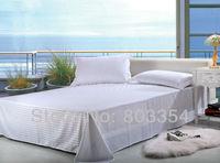 White Cotton Bedding Sheet, Satin Stripe Flat Sheet,Cotton Bed Sheets, Sheets Sets for Bed King Queen