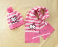 Free shipping 2013 new arrival hello kitty Cap and scarf set child hat girls hat children cap christam gift