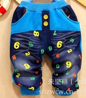 Free shipping baby long thick pants children full length letter cotton-padded trousers kids jeans pocket winter britches