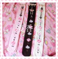 Princess sweet lolita stockings HARAJUKU soft amo Alice tea spoon fork handle gentlewoman cotton over-the-knee stockings soks
