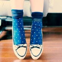 Wholesale A141 socks sexy multicolour dot polka dot thin sock stockings pile of pile of socks  Free shipping