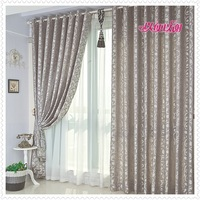 80% sun shading Luxury Gray Finished Blackout Curtains for Living room / bedroom Cortina ikea :a0138