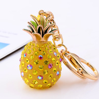 Diy gift pineapple keychain birthday key chain male women's rhinestone car