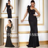 Elegant sheath one shoulder handmade flower satin long black mother of the bride dresses MQ036