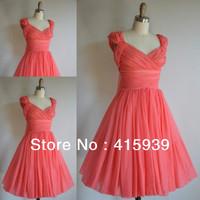 Real photo!High quality short a line cap sleeve pleats chiffon coral bridesmaid dresses brides maid dresses BN057
