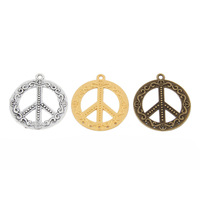 MIN Order(mix 10$)(10PCS)Jewelry Accessories peace symbol Charms(2188#)51*48mm   Tibetan Silver/Bronze Plated/Gold Plated