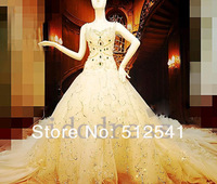 Brilhante Chapel Train Swarovski Lace Wedding Dresses A Line V Neck Pearls Organza Actual Images Brand Desige Dress yk8R37