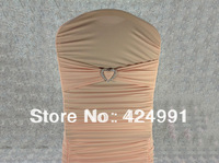 Pale Pink Lycra Chair Bands&Sash with Heart Shape buckle ,Double Layer Lycra Bands&Sash for Weddings Events Decoration
