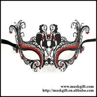 Free Shipping! MD003-RBK Italian Venetian Masks Halloween Metal Masks With Red Crystals Party Mask Halloween Masquerade Masks