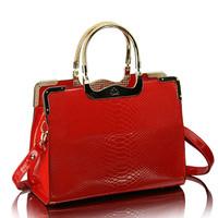 Winter crocodile pattern bright japanned leather bag red bridal bag 2013 women's handbag leopard print messenger bag