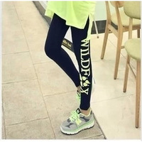 2013 New Fashion Women's leggings 100% cotton plus size elastic single letter leggings