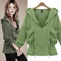 2014 New Fashion Spring Women Jackets/Brand Loose Slim Bat Sleeve Short Jackets For Women/Plus Size Casual Women Coats Tops