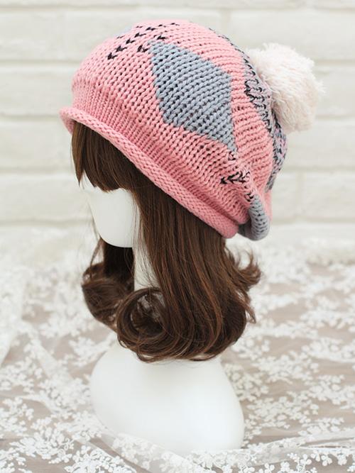 pattern hairline patchwork wool hat knitting wool ball trend women 39