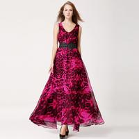 Fashion Women's Long Chiffon Dresses 2014 Summer New In Double V-neck Leopard Pattern Elegant Female Chiffon Dresses With Belt