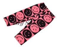 3PCS/LOT Kids Girls Candy Pink Color Smiling Face Trousers Skinny Pants Cropped Trousers 3Sizes 16915