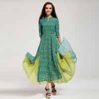 Fashion Women's Long Chiffon Dresses 2013 New Arrival Vogue National Trend Placketing Half Sleeves Female Autumn Dresses