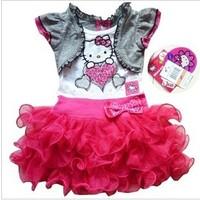 hello kitty dress kids flower girl's tutu dresses pink princess dress fashion ball gown children's clothing kids wear