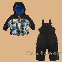 2013 Winter children's ski suit set boys outdoor trousersthermal wadded jacket and suspender pant set