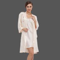 Lounge pure silk sleepwear female mulberry silk robe bathrobes sexy spaghetti strap twinset