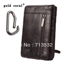 2013 New Men Waist Hip Bag Pack Mobile Phone Genuine Leather Belt Loop Black brown Free Shipping AA321