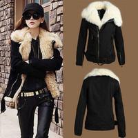 2014 New Brand Winter Warm Women Parkas/Desgual Black Faux Fur Motorcycle Parkas Women Coats/Casual Women Clothing