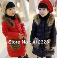 2013 children girls winter warm thick sintepon jacket coat with fur kids outwear