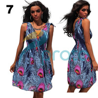 M XXL Plus Size Freeshipping 2013 New Fashion Women Sexy Peacock Printed Vintage Dress Summer Casual Dress 4152X5-8