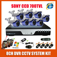 Sony CCD 700TVL Bullet Outdoor Waterproof Video Surveillance 8CH Full D1 DVR CCTV System Kit  Home Security Camera System