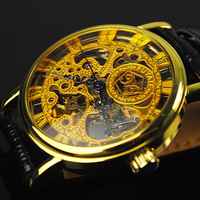 Only 29.9$business fashion Men's Mechanical Automatic Wrist Watch gold HQ Leather Strap free shipping hot sale