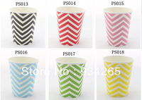 Wholesale - Free shipping  8oz Paper Cups Chevron  Paper Cups  Color MIX Party Supplies wedding Birthday Party
