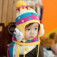Free shipping Children rabbit protect ear hat/baby hat and scarf/winter warm kids cap  BH002