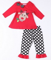 Baby girls long sleeve clothing sets,kids t-shirt&dot pant suits