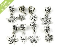 200pcs  Tibetan Silver fleur-de-lis Flower Charms Dangle Beads Fit European Bracelets