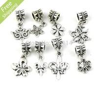 200pcs  Tibetan Silver fleur-de-lis Flower sets Charms Pendants Beads Fit European Bracelets