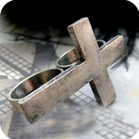 2013 Fashion Vintage  European and American jewelry Complex bronze Retro bicyclic cross dual ring ring