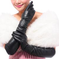 New arrival lengthen genuine leather gloves women's winter thickening thermal long design sheepskin gloves lengthen arm sleeve