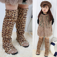 Female child boots tall boots high-leg knee-length boots girl's cotton-padded shoes leopard print folding two ways child boots
