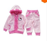 2013 autumn/winter clothing,hello kitty pink style clothes for children/kids baby girl,hoodies+pants  sport suit