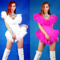 Ds costume costumes dj female singer twirled clothing jazz dance feather bodysuit
