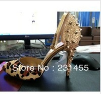 2013 new sexy design free shipping top Leopard leather spike high heel women shoes
