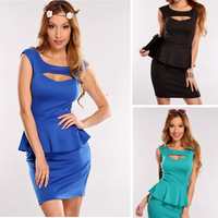 3 Colos M L XL Plus Size Dress 2013 New Fashion Women Sexy Hollow Out Chest Peplum Casual Dress Elegant OL Work Dress N119