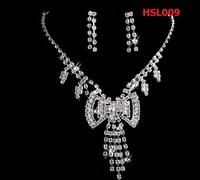 New Wedding Dress Elegent Women Jewelry Bride Delicate Silver Necklace+Earrings Bowknot Cricle Pendant Crystal Chain HSL009