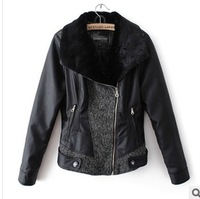 The European and American wind of new fund of 2013 autumn winters spell fur fashion long-sleeved zipper pure hue