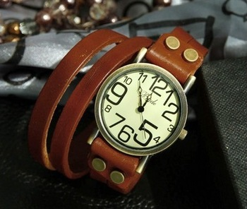 European & American Genuine leather bracelet watch big digital retro vintage wristwatches quartz watch women men gifts