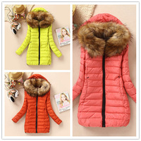 Winter women's cotton-padded medium-long slim solid color brief large fur collar wadded jacket   PH0234