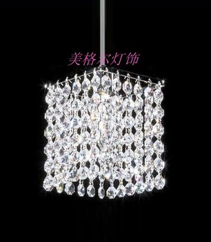 Crystal lamp square pendant lamp restaurant lamp dining table pendant light lighting single crystal pendant light
