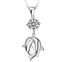 2013 New Items 24K Gold Plated Necklace Gold Chain CZ Rhinestone Small Pendant Necklace Gifts High Quality necklaces & pendants