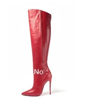 2013 fashion pointed toe knee boots for women brief design red leather knee boots 120MM heel winter booty shoes plus size10